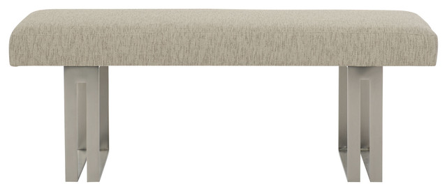 Gwyneth Modern Classic Beige Upholstered Metal Bench.