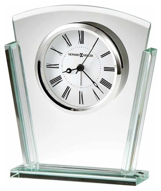 tapered jade glass tabletop alarm clock howard miller