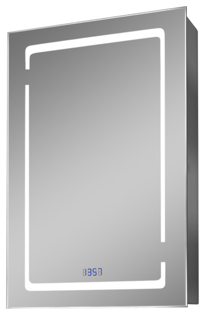 Filia Led Cabinet With Digital Clock, Internal Shaver Socket And Demister.