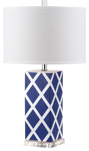 Safavieh Garden Lattice Table Lamp, Navy