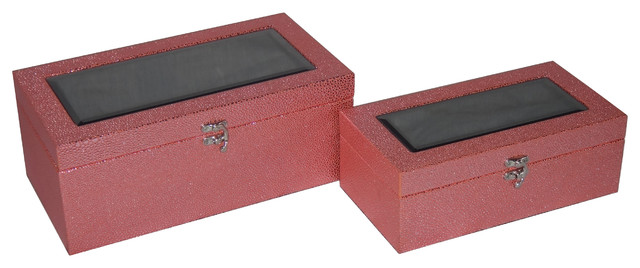 2-Piece Treasure Boxes With Beveled Mirror, Pink.