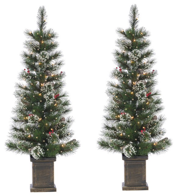 christmas decorations christmas trees potted spruce with iced tips pine cones berries 50 lights 4 foot