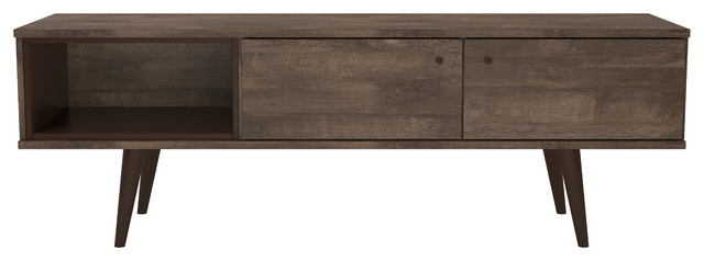 Valencia Mid-Century 2-Cabinet Tv Stand, Distressed Brown.