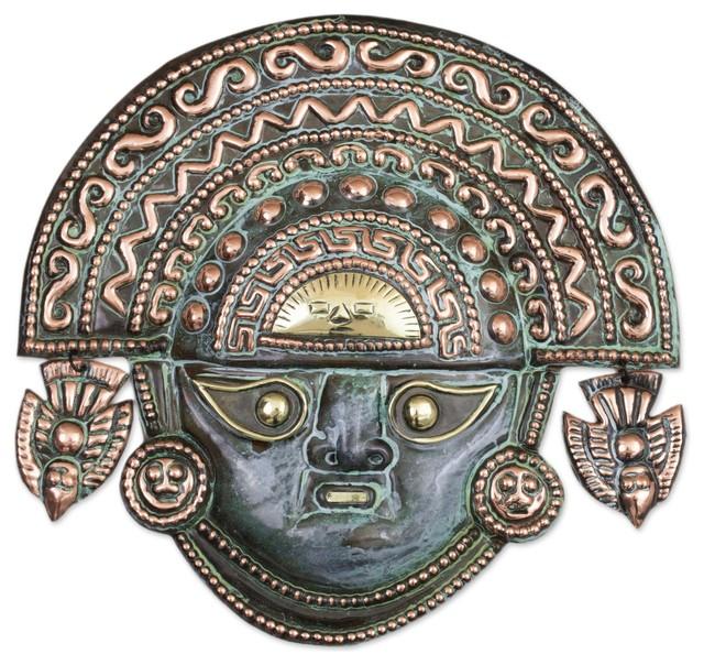 Handmade Ai Apaec with Ritual Crown Copper mask - Peru