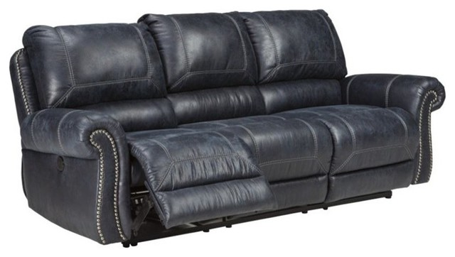 Ashley Milhaven Reclining Faux Leather Sofa, Navy Transitional Sofas