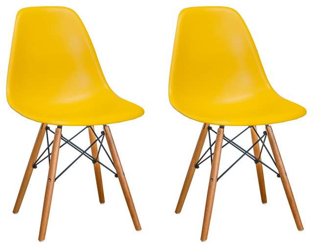 Strange Paris Tower Dining Side Chair W Wood Legs Set Of 2 Yellow Andrewgaddart Wooden Chair Designs For Living Room Andrewgaddartcom