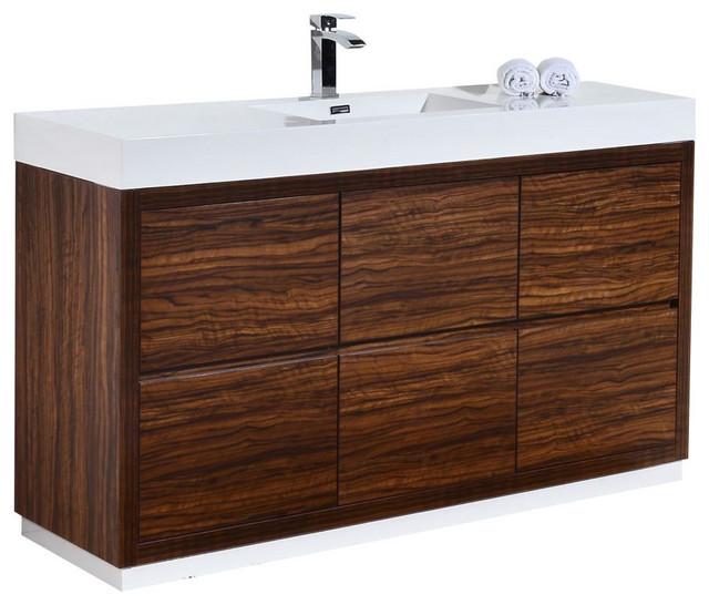 "Bliss 60"" Single Sink Free Standing Bathroom Vanity, Walnut, Walnut"
