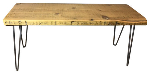 Handmade Reclaimed Wood Bench, Hairpin Legs, 12x36x18, Natural Wood