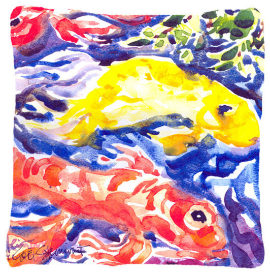 Fish koi in the pond decorative canvas fabric pillow for Koi fish material