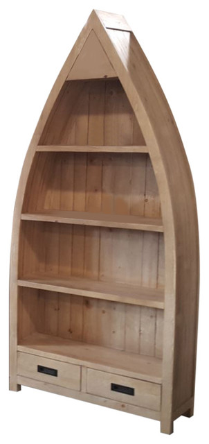 Ancona Rustic Boat-Shaped Bookcase.