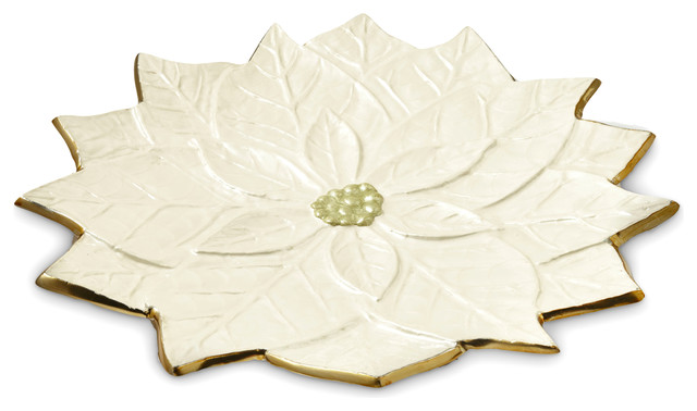 Snow Poinsettia 15-inch Gold Platter
