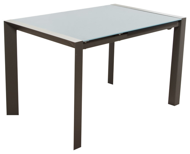 Carbon glass top extension dining table with metal frame for Dining table frame design