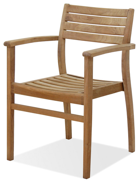 Coventry Teak Stacking Armchairs Set of 4 Modern Outdoor Dining Chairs