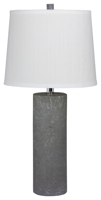 "26"" Contemporary Column Ceramic Table Lamp, Gray."