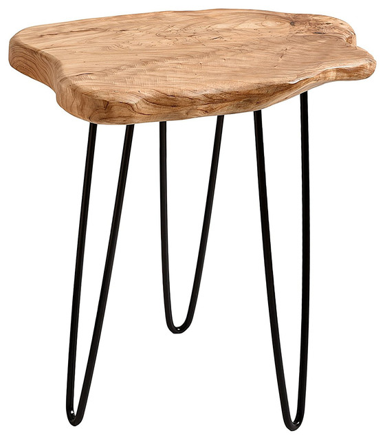 Cedar Wood Stump End Table Rustic Surface Side Table