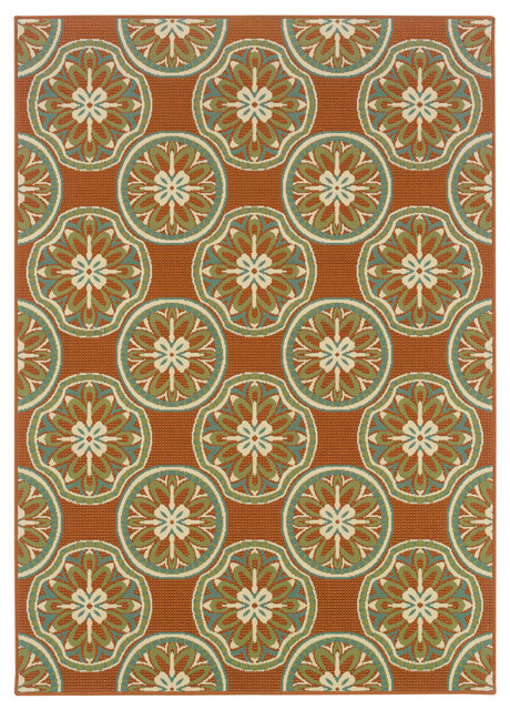 Malibu Indoor And Outdoor Floral Orange And Ivory Rug, 8&x27;6x13&x27;.