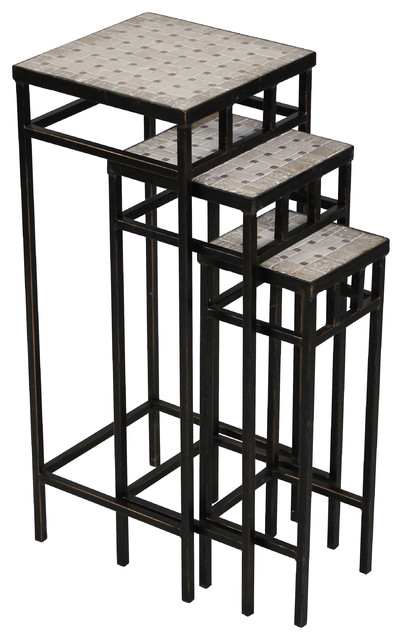 3 Piece Slate Square Plant Stands Antique Style Tuscany