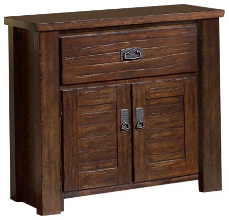 Shop houzz progressive furniture trestlewood rustic for Rustic wood nightstand