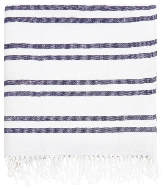 """Clare Blue And White Striped Cotton Throw Blanket, 50""""x70""""."""