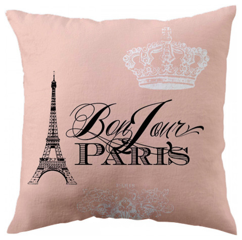 Bonjour Paris Peach Throw Pillow Traditional Decorative Pillows Enchanting Paris Themed Decorative Pillows