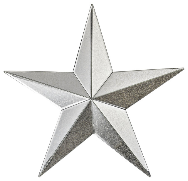 "Star Wall Decor wish maker antiqued mirrored star wall decor, 18"" - contemporary"