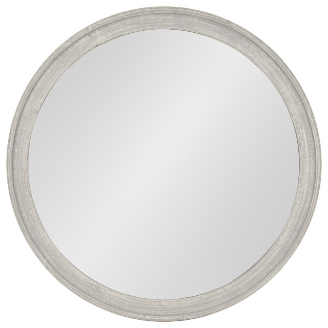 "Mansell Round Wooden Wall Mirror, 28"" Diameter, Distressed Gray."