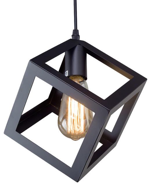 Cube pendant lights houzz lnc black cube retro style industrial mini ceiling pendant light shade pendant lighting aloadofball Choice Image