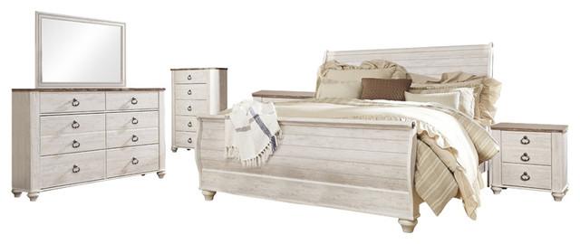 Ashley Willowton 6-Piece Queen Sleigh Bedroom Set, White