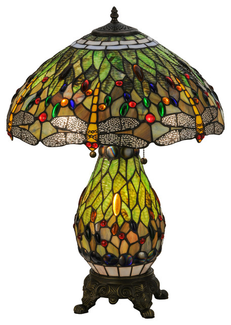 """25"""" Tiffany Hanginghead Dragonfly Lighted Base Table Lamp."""