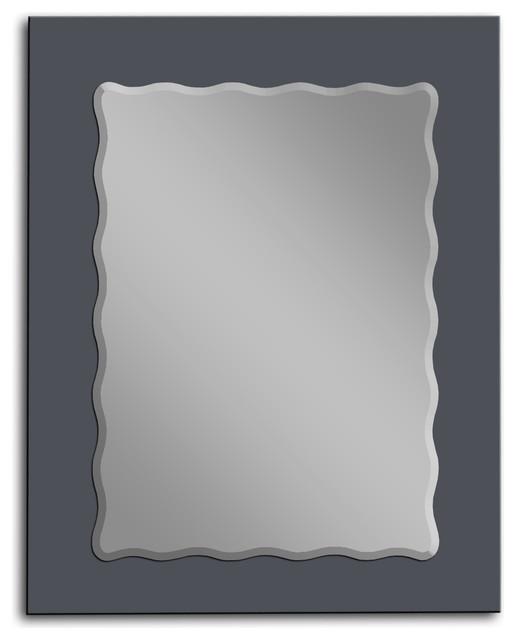 MirrorsHome Color Glass Frame Bathroom Mirror Wave - Contemporary ...