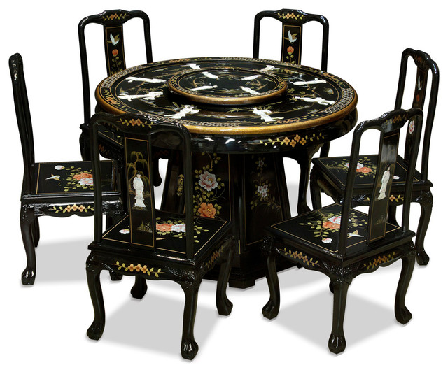 """Asian Dining Room Furniture: 48"""" Black Lacquer Pearl Figure Motif Round Dining Table"""