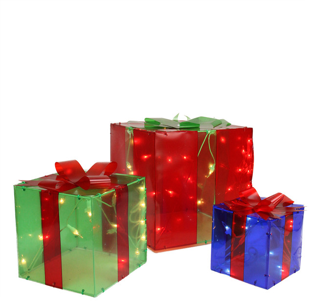 3 piece lighted red green and blue gift box presents christmas 3 piece lighted red green and blue gift box presents christmas decoration set aloadofball Image collections