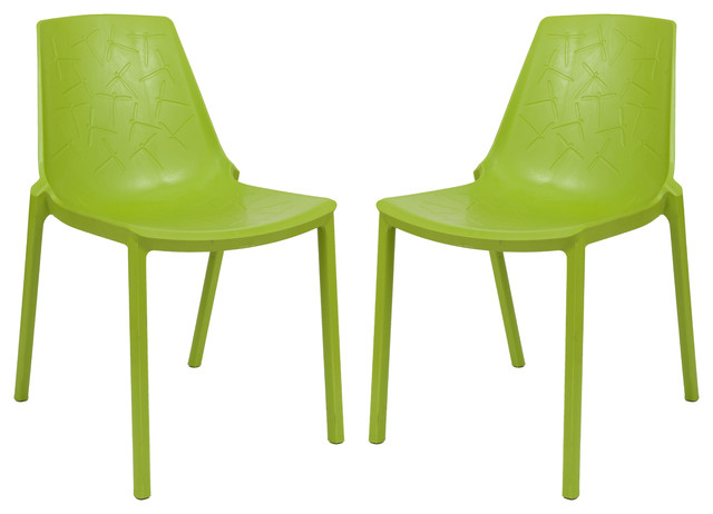 Leisuremod Modern Clover Dining Chairs, Set Of 2, Green.