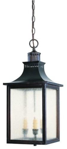 Savoy House 5-256 Monte Grande 3 Light Lantern With Pale Cream Seeded Shade.