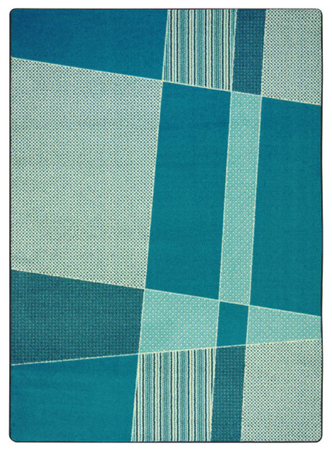 Kid Essentials 3'10x5'4 Teen Area Rugs Spazz Rug, Rectangle, Teal by Joy Carpet Co
