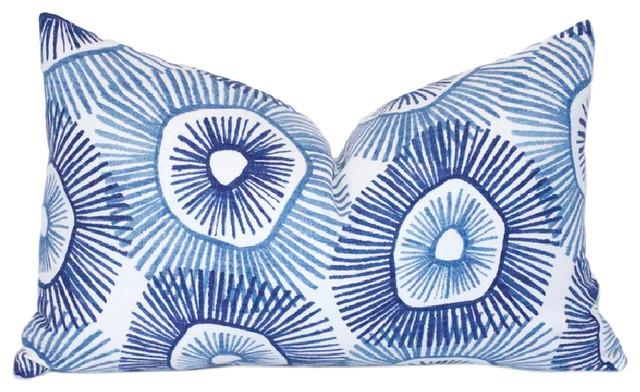 """Pelican Island Cotton Pillow Cover, Lumbar, Indigo Blue, 12""""x20""""."""