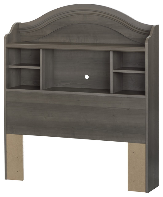 South Shore Savannah Twin Bookcase Headboard, 39&x27;&x27;, Gray Maple.