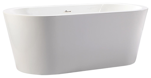 """Pella Freestanding Bathtub 68"""" Contemporary White With Rectangle Overflow."""