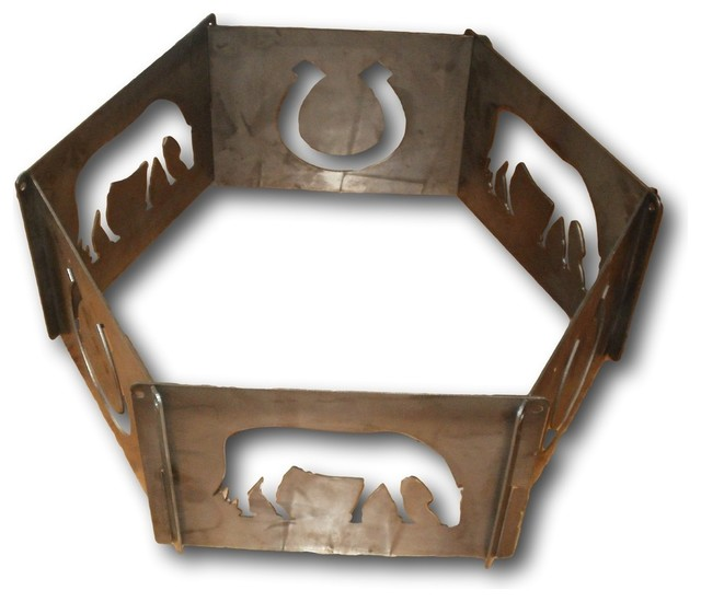 6 Pc Portable Horse Fire Ring Fire Pits