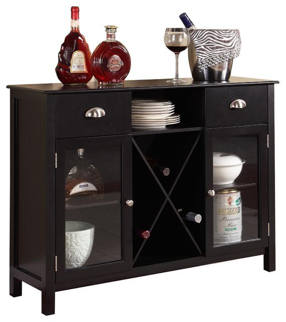 Shop Houzz | Pilaster Designs Wood Wine Rack Console Sideboard Table with Storage, Dark Cherry ...