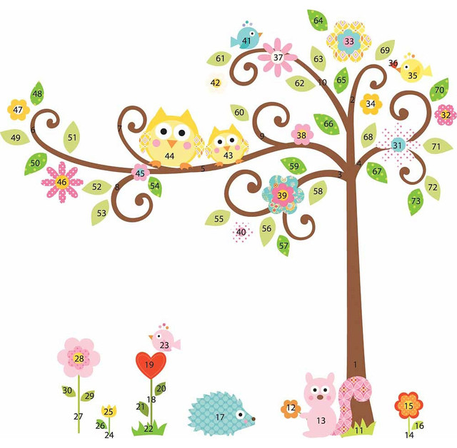 Scroll Tree Owls Wall Accent Sticker Set Contemporary Wall Decals Awesome Ideas