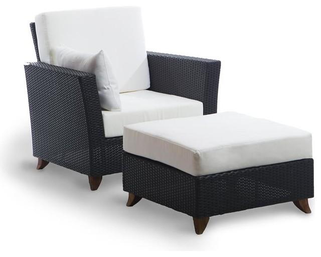 Terrific All Things Cedar Rattan Deep Chair Ottoman Set White Ibusinesslaw Wood Chair Design Ideas Ibusinesslaworg