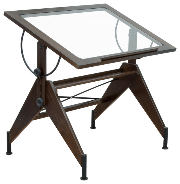 Aries Glass Top Table Dark Walnut And Black Industrial Drafting Tables