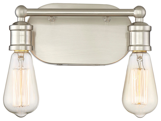 2-Light Bath Fixture, Brushed Nickel.