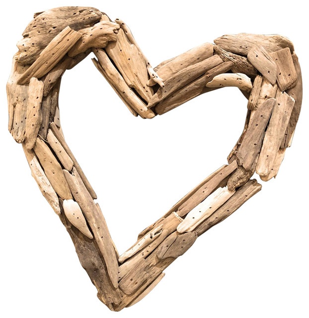 "Driftwood Heart Wreath,  13""."
