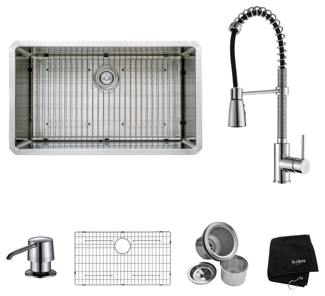"""Undermount Single Stainless Steel Sink, Faucet And Soap Dispenser, Chrome, 32""""."""