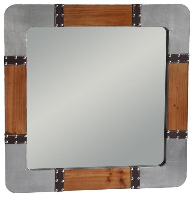 Industrial Wall Mirror wood and metal wall mirror - industrial - wall mirrors -cheungs