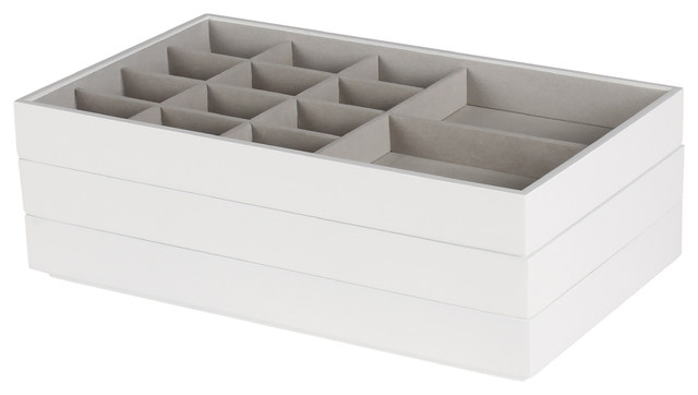 Kate And Laurel Myrcella Jewelry Storage Stackable Trays, Set Of 3, White