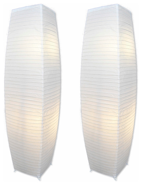 Decor Works Chrome Floor Lamps Set Of 2, Pure-White Paper Shades.
