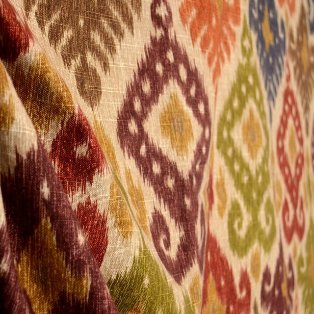 Duralee 20936-132 Autumn Red Green Blue Orange Southwest Ikat ...